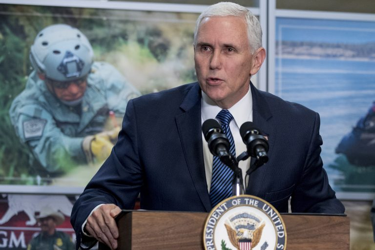In this Jan. 11, 2019, photo, Vice President Mike Pence speaks to U.S. Customs and Border Protection employees at their headquarters in Washington. (Andrew Harnik/AP Photo)