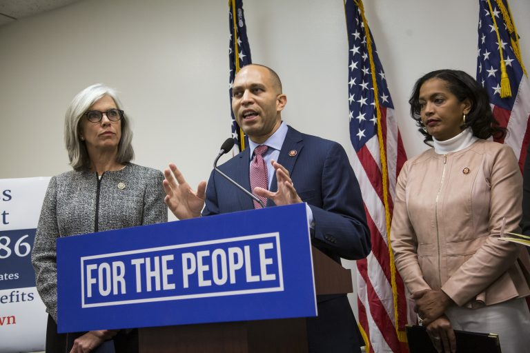 Democratic Caucus Chairman Rep. Hakeem Jeffries of N.Y., flanked by Democratic Caucus Vice Chairman Rep. Katherine Clark, D-Mass., (left), and Rep. Jahana Hayes, D-Conn., (right), speaks to reporters about the partial government shutdown following a Democratic strategy session on Capitol Hill in Washington, Tuesday, Jan. 15, 2019. (J. Scott Applewhite/AP Photo)