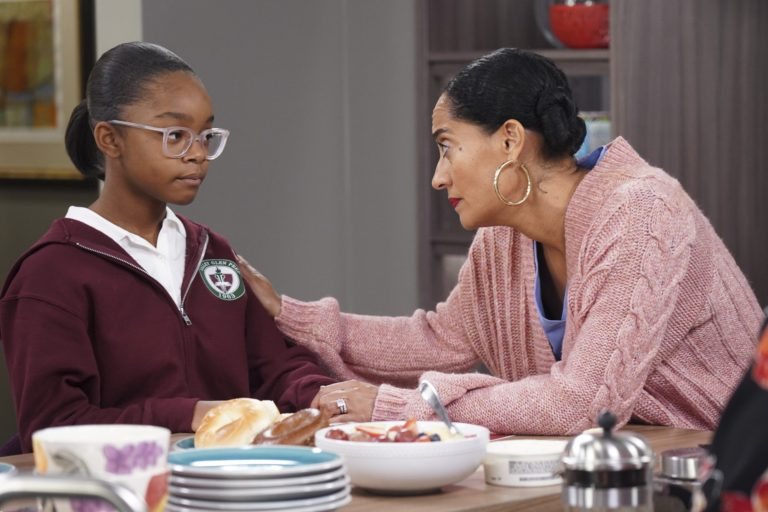 This image released by ABC shows Marsai Martin, left, and Tracee Ellis Ross in a scene from