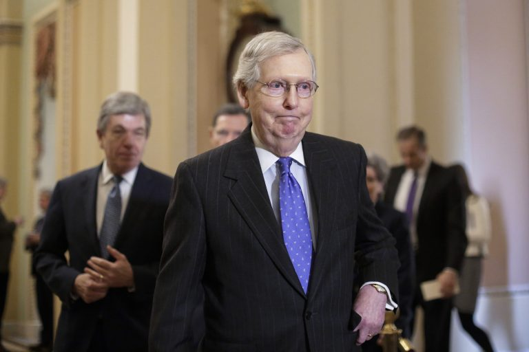 In this Jan. 15, 2019, photo, Senate Majority Leader Mitch McConnell, R-Ky., arrives to speak to reporters following a weekly policy meeting on Capitol Hill in Washington. (J. Scott Applewhite/AP Photo)