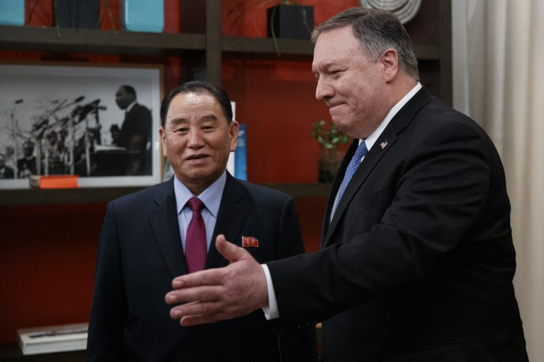 Secretary of State Mike Pompeo, right, and Kim Yong Chol, a North Korean senior ruling party official and former intelligence chief, walk from a photo opportunity at the The Dupont Circle Hotel in Washington, Friday, Jan. 18, 2019. (Carolyn Kaster/AP Photo)