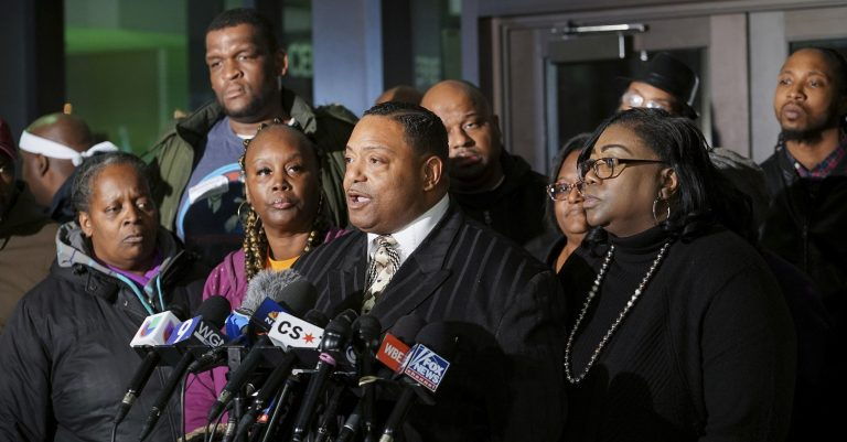 The Rev. Marvin Hunter, Laquan McDonald's great-uncle, speaks with reporters at the Leighton Criminal Court Building in Chicago on Friday, Jan. 18, 2019, after the sentencing of former Chicago officer Jason Van Dyke for the 2014 shooting of McDonald. The white Chicago officer was sentenced to nearly seven years in prison for gunning down the black teenager, ending an explosive case that arose from one of the nation's most graphic dashcam videos and added fuel to debates about race and policing.  (Teresa Crawford/AP)