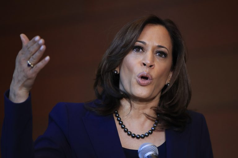 In this Jan. 21, 2019, photo, Sen. Kamala Harris, D-Calif., speaks to members of the media at her alma mater, Howard University in Washington. The 2020 presidential election already includes more than a half-dozen Democrats whose identities reflect the nation's growing diversity, as well as embody the coalition that helped Barack Obama first seize the White House in 2008. (Manuel Balce Ceneta/AP Photo)