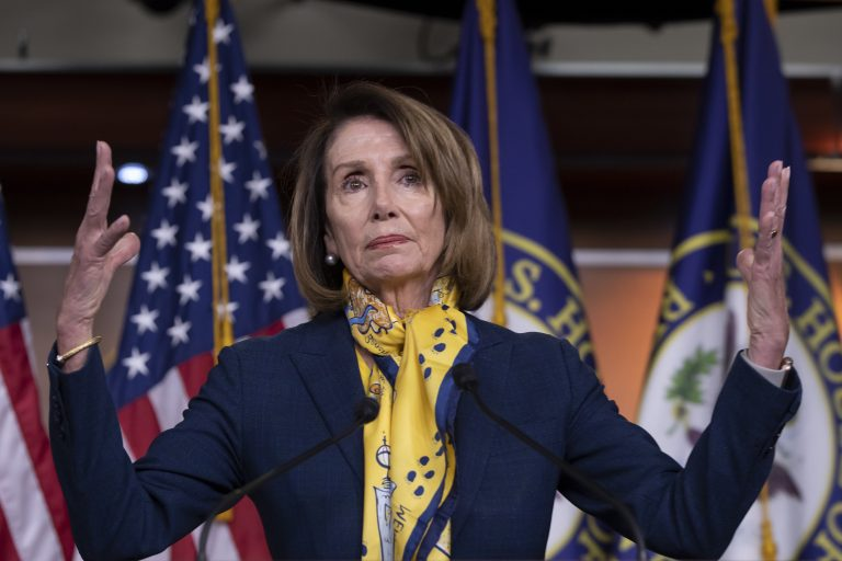 Speaker of the House Nancy Pelosi, D-Calif., talks to reporters a day after officially postponing President Donald Trump's State of the Union address until the government is fully reopened, at the Capitol in Washington, Thursday, Jan. 24, 2019.  (J. Scott Applewhite/AP Photo/)