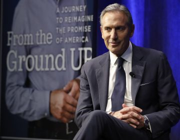 Former Starbucks CEO and Chairman Howard Schultz looks out at the audience during a book promotion tour, Monday, Jan. 28, 2019, in New York. Democrats across the political spectrum lashed out at the billionaire businessman on Monday after he teased the prospect of an independent 2020 bid, a move Democrats fear would split their vote and all but ensure President Donald Trump's re-election. (Kathy Willens/AP Photo)