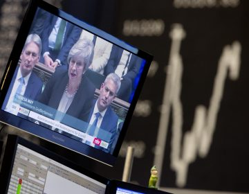 News about the Brexit are seen on a television screen with the curve of the German stock index DAX in background at the stock market in Frankfurt, Germany, Wednesday, Jan. 30, 2019. (Michael Probst/AP Photo)