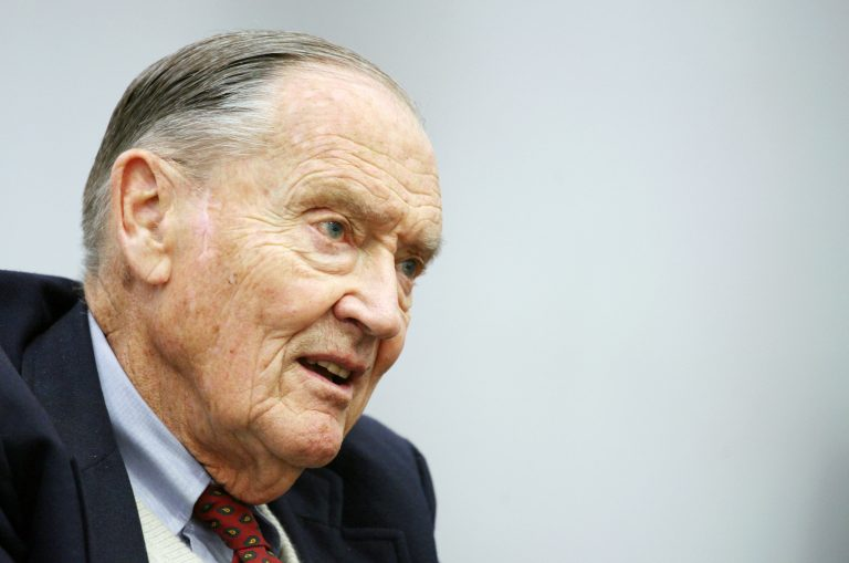 In this Tuesday, May 20, 2008, file photo, John Bogle, founder of The Vanguard Group, talks during an interview with The Associated Press in New York. Bogle has died at 89. (AP Photo/Mark Lennihan, File)