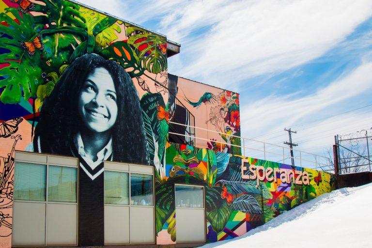 """Esperanza Academy Charter School's mural, """"Sembrando Sueños, Cosechando Esperanza"""" (""""Planting Dreams, Harvesting Hope"""")(Photo via facebook.com/Esperanzausa)"""