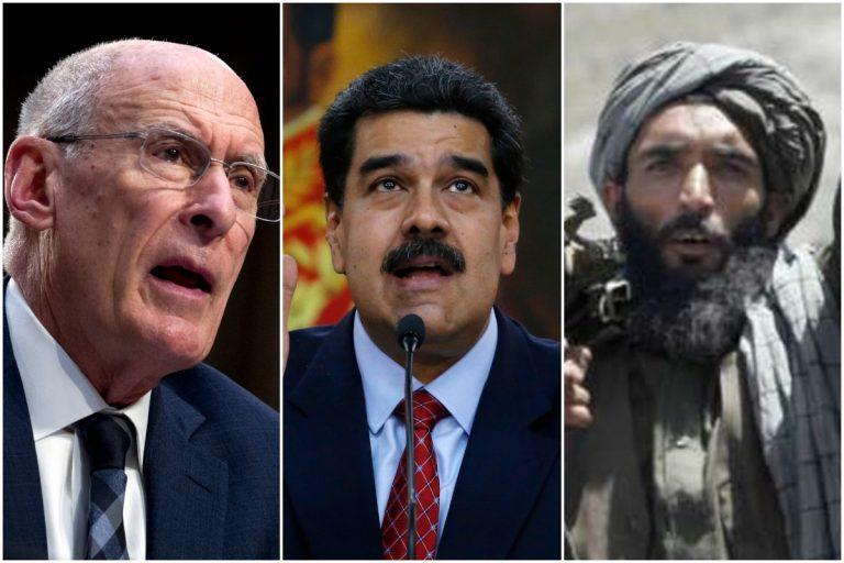 Left to right: Dan Coates  (AP Photo/Jose Luis Magana), Nicolas Maduro (AP Photo/Ariana Cubillos), Taliban fighter (AP Photos/Allauddin Khan, File)
