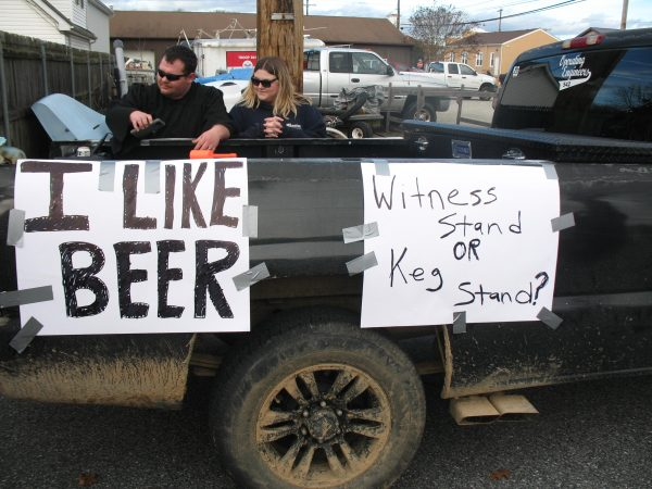 Brett Kavanaugh's fondness of beer was satirized in this float that featured audio of the Supreme Court nominee's testimony before a Senate committee. (John Mussoni/WHYY)