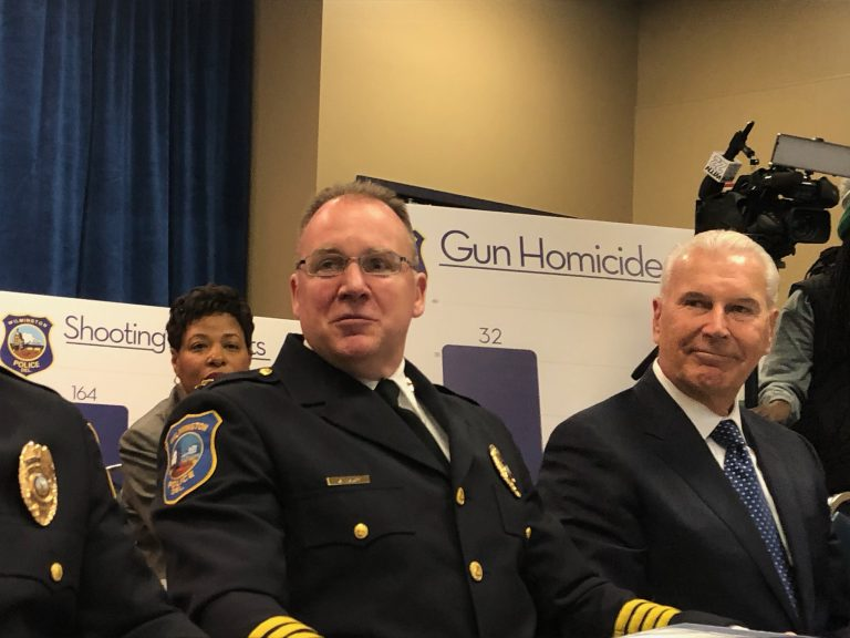 Wilmington police chief Robert Tracy (left) and Mayor Mike Purzycki held a news conference to talk about what the mayor called