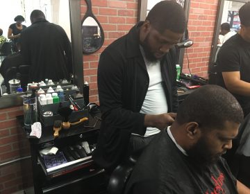 Philly-based barber B. Jawuan Jones wanted to give back to the community by giving free haircuts to homeless people. In 2017, he was gifted his own barber shop. Over the next five years, Jones hopes to open a homeless shelter. (Taylor Allen/WHYY News)