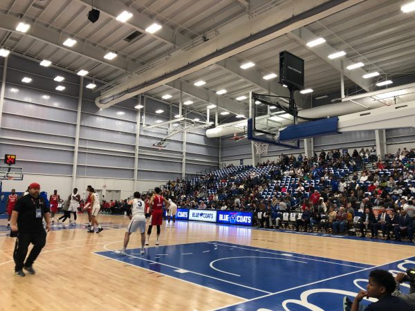 The stands were two-thirds full for the Blue Coats' debut at their new Wilmington arena. (Cris Barrish, WHYY News)