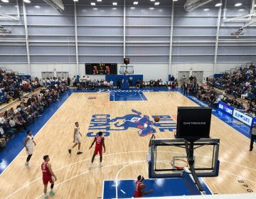 The 2,500-seat arena was about two-thirds full Wednesday during opening night for the Blue Coats. (Cris Barrish, WHYY News.)
