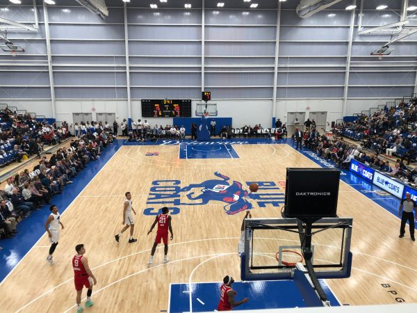 The stands were about two-thirds full in the 2,500-seat arena for the Blue Coats' Wilmington debut. (Cris Barrish/WHYY)