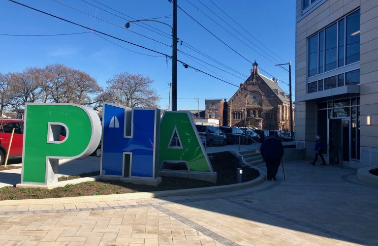 The Philadelphia Housing Authority's new headquarters is now open in the Sharswood section of North Philadelphia following ceremonies Tuesday. (Darryl Murphy/ WHYY)