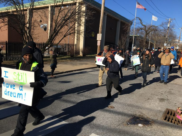Wilmington residents called for justice and peace in the 7th annual MLK Day Peace March. (Mark Eichmann/WHYY)