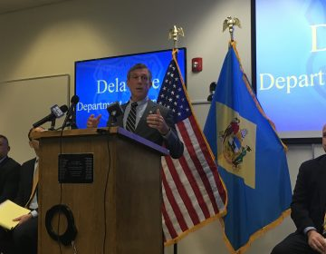 Delaware Gov. John Carney Tuesday announces efforts to reduce recidivism at the Department of Correction administration building in Dover. (Mark Eichmann/WHYY)