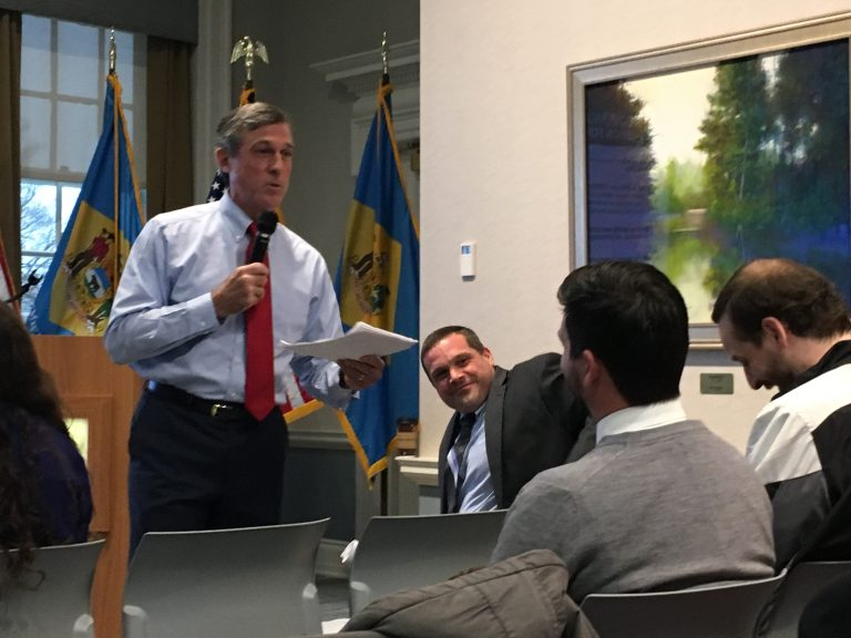 Delaware Gov. John Carney details his FY2020 budget to state lawmakers at the Delaware Public Archives in Dover. (Mark Eichmann/WHYY)
