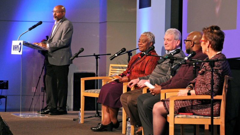 The Rev. Steven Lawrence (left) moderates a conversation with (from left) Lutheran Bishop Patricia Davenport, Rabbi David Straus, Imam Anwar Muhaimin, and the Rev. Bonnie Camarada. (Emma Lee/WHYY)