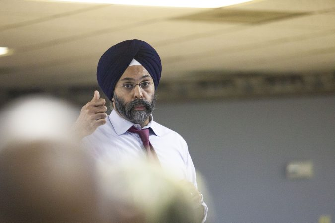 New Jersey Attorney General Gurbir S. Grewal offer remarks about police use of force during a community listening session in Bridgeton, N.J., Jan. 23, 2019. (Miguel Martinez for WHYY)