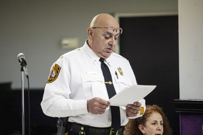 Bridgeton Police Chief Michael Gaimari offers remarks about police use of force during a community listening session in Bridgeton, N.J., Jan. 23, 2019. (Miguel Martinez for WHYY)