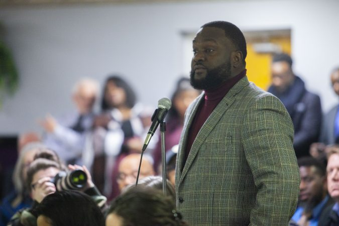 An audience member offers his experience with the police in Cumberland County during a community listening session in Bridgeton, N.J., Jan. 23, 2019. (Miguel Martinez for WHYY)