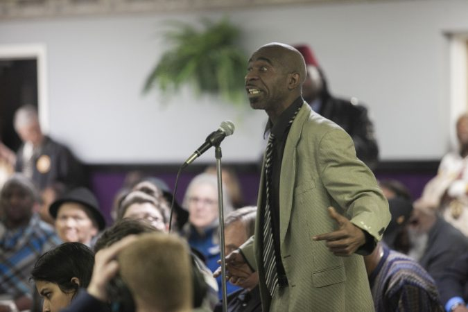 Henry Green offers a statement about his experience with law enforcement in Atlantic City during a community listening session in Bridgeton, N.J., Jan. 23, 2019. (Miguel Martinez for WHYY)