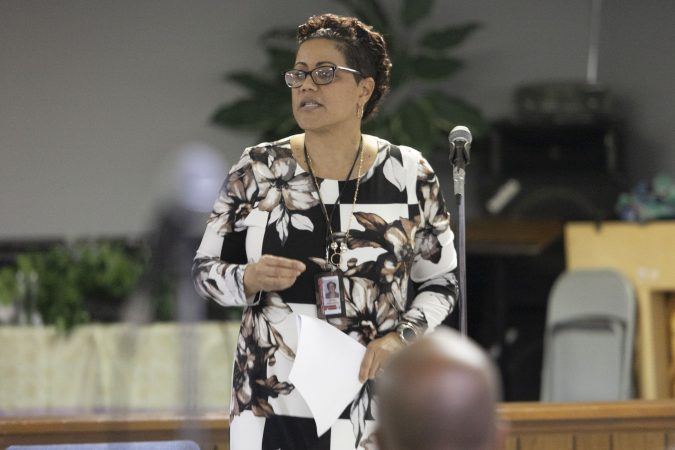 Cumberland County Prosecutor Jennifer Webb-McRae offers opening remarks during a community listening session in Bridgeton, N.J., Jan. 23, 2019. (Miguel Martinez for WHYY)
