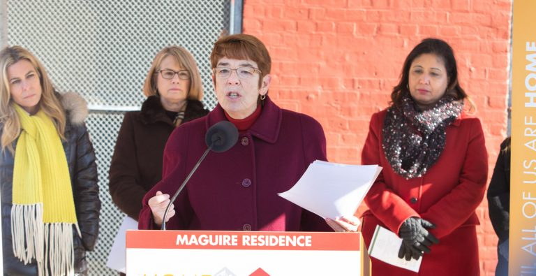Sister Mary Scullion, co-founder of Project HOME, speaks at the construction kickoff ceremony for the nonprofit's Maguire Residence in Kensington on Jan. 15. It will be housing for homeless people with an addiction. (Photo courtesy of Jay Gorodetzer)