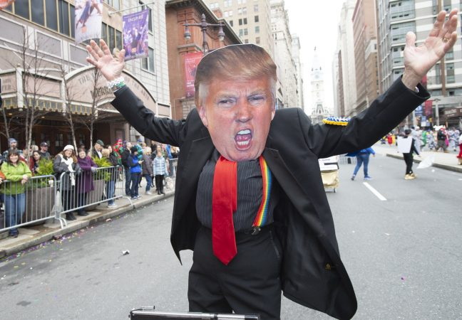 Jerry Ordenker was a crowd favorite as he satirized Donald Trump. (Jonathan Wilson for WHYY)