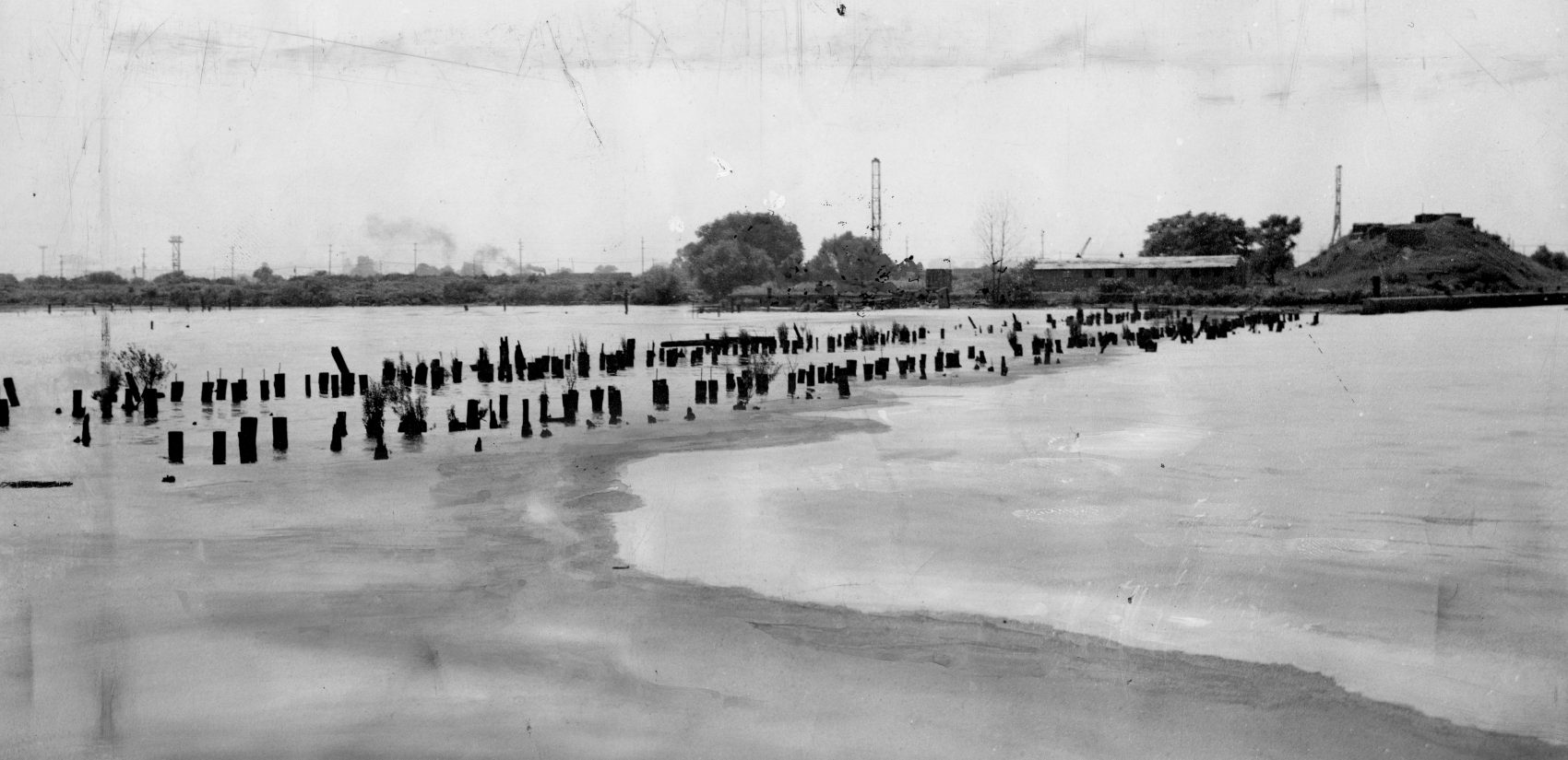 Decomposed matter floats on the river above Greenwich Point near South Philadelphia in July 1944. (Temple archives)