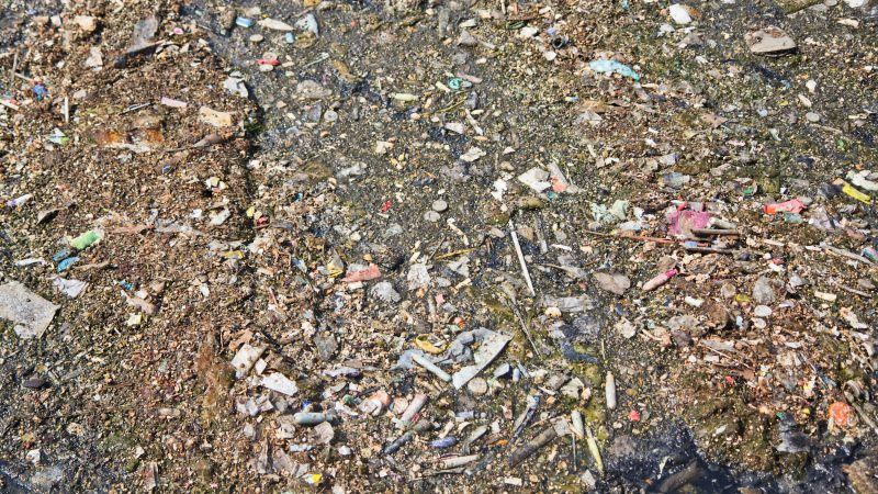 Plastic debris, including tampon applicators and straws, floats on top of sewage and stormwater at the Southwest water pollution control plant in Philadelphia. Water department officials recommend not flushing anything down the toilet except toilet paper. (Kimberly Paynter/WHYY)