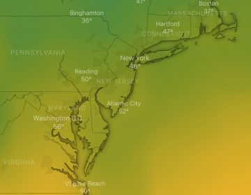 The GFS forecast model animation for next Tuesday, indicating warmer than normal temperatures in the New Jersey region.