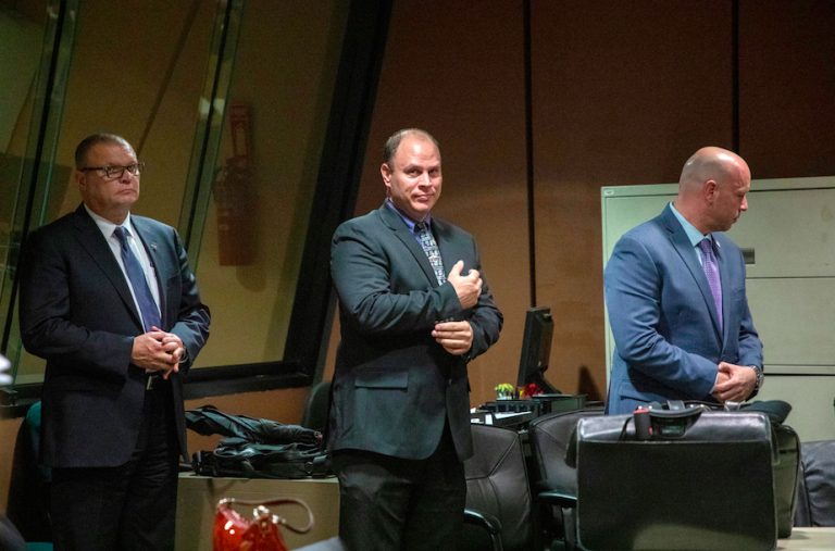 In this Oct. 30, 2018 file photo, from left, former Detective David March, Chicago Police Officer Thomas Gaffney and former officer Joseph Walsh appear at a pre-trial hearing in Chicago. The three Chicago police officers are accused of participating in a cover-up of the fatal shooting of Laquan McDonald (Zbigniew Bzdak/Chicago Tribune via AP)