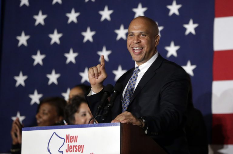 Sen. Cory Booker, D-N.J., addresses supporters during an election night victory gathering, Tuesday, Nov. 4, 2014, in Newark, N.J. (AP Photo/Julio Cortez)