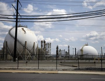 This photo taken on July 11, 2012, shows the Marcus Hook Refinery in Marcus Hook, Pa. The facility, which is owned and operated by Sunoco Logistics, is an international hub for natural gas liquids, propane, ethane, and butane from the Marcellus Shale region of Western Pennsylvania. (Matt Slocum/AP Photo)