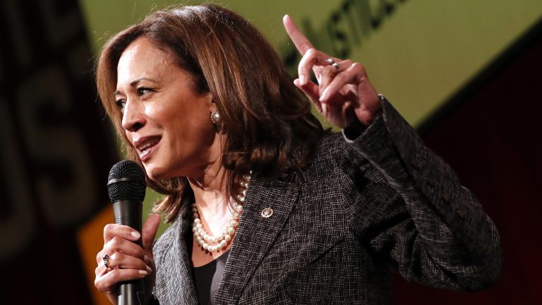 Sen. Kamala Harris, D-Calif., speaks at Vote For Justice: An Evening of Empowerment with activists and artists at the Newseum in May 2018. (Paul Morigi/AP)