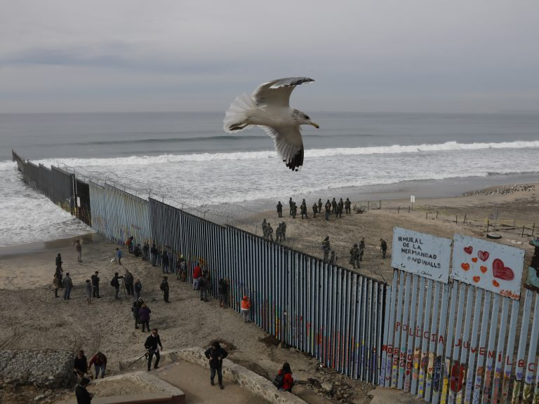 The westernmost edge of the U.S. border wall separates Tijuana from San Diego. Most undocumented immigrants in this country did not enter the U.S. at the Southern border. (Rebecca Blackwell/AP)
