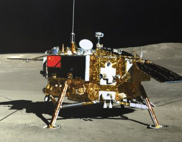 The lunar lander of the Chang'e-4 probe is seen on Jan. 11. The seeds that scientists hoped would thrive within a biodome aboard have all died. (AP via China National Space Administration via Xinhua News Agency)