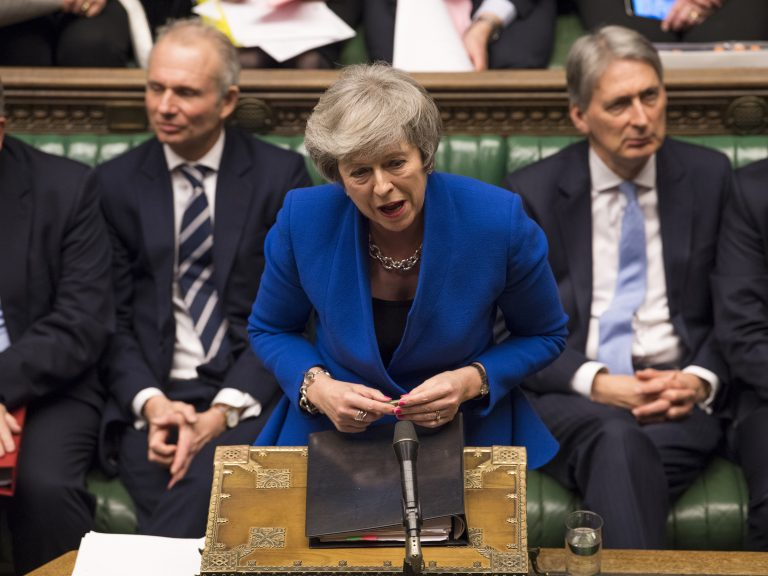 Britain's Prime Minister Theresa May speaks during a debate before a no-confidence vote on Theresa May raised by opposition Labour Party leader Jeremy Corbyn, in the House of Commons in London on Wednesday. (Mark Duffy/AP)