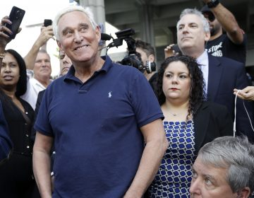 Roger Stone, a confidant of President Trump, walks out of the federal courthouse following a hearing Friday in Fort Lauderdale, Fla. Stone's next court date is in Washington. (Lynne Sladky/AP Photo)