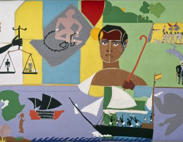 A collage piece by Romare Bearden, commissioned by the African American Museum in Philadelphia in 1976. Its called Captivity and Resistance. Its about the mutiny on the slave ship Amistad.