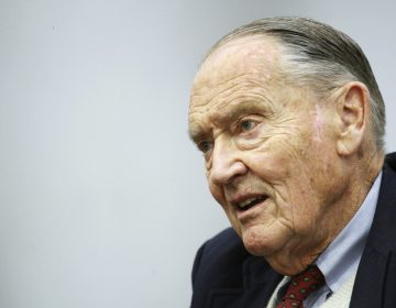 FILE - In this Tuesday, May 20, 2008, file photo, John Bogle, founder of The Vanguard Group, talks during an interview with The Associated Press, in New York. Vanguard announced Wednesday, Jan. 16, 2019, that John C.
