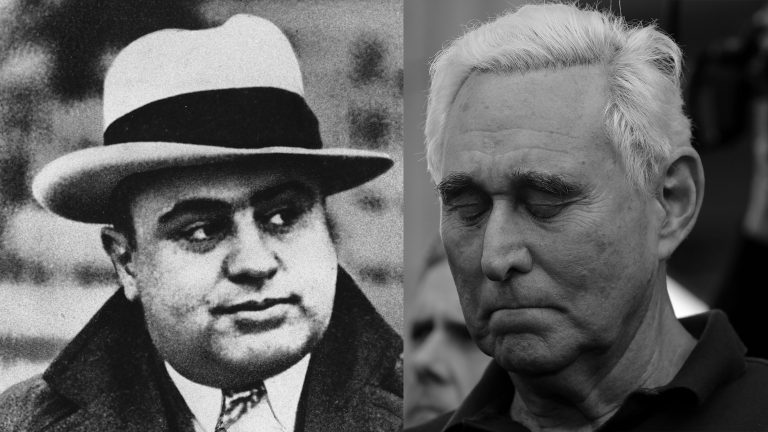 Al Capone (left) is photographed at a football game in Chicago on Jan. 19, 1931. Roger Stone, a confidant of President Donald Trump, stands outside of the federal courthouse following a hearing, Friday, Jan. 25, 2019, in Fort Lauderdale, Fla. (AP Photo/Lynne Sladky)