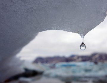 An iceberg melts in Kulusuk Bay, eastern Greenland, in this July 17, 2007, file photo.  The melting of the Greenland ice cap and its effect on the area around Greenland is one of the more immediate effects of climate change. (AP Photo/John McConnico, File)