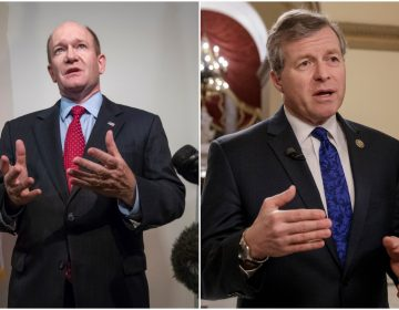 Left: Sen. Chris Coons (AP Photo/J. Scott Applewhite) Right: Fmr. Rep. Charlie Dent (AP Photo/J. Scott Applewhite, File)