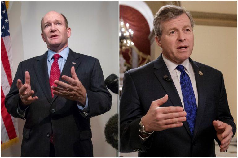 Left: Sen. Chris Coons (AP Photo/J. Scott Applewhite) Right: Fmr. Rep. Charlie Dent (AP Photo/J. Scott Applewhite, File)