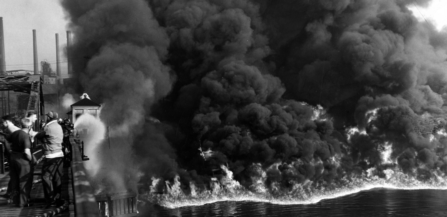 Fire on the Cuyahoga River, 1952. Many such fires occurred on the river before the Clean Water Act. (The Cleveland Press Collection, Michael Schwartz Library, Cleveland State University)