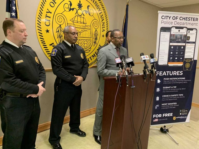 Chester's Mayor Thaddeus Kirkland discusses the city's decrease in crime, including homicides. (Aaron Moselle/WHYY)